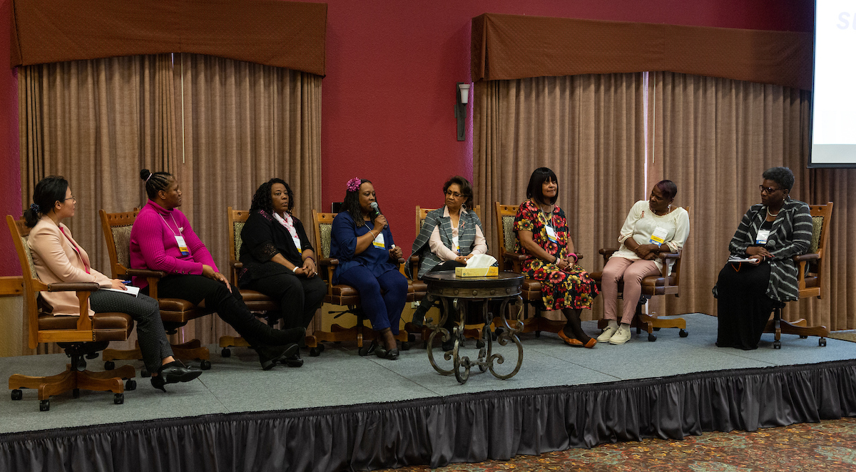 [L-R] Post-film discussion with Dr. Alice Yan, Terry Jones-Carr, Evelyn Brown, Cynthia Hooker, Mahasin Abdullah, Carol Davis, and Lisa Taylor-Goodwin. Moderated by Debra Nevels, Senior Manager, American Cancer Society